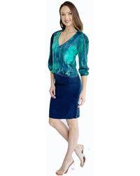 Michelle Jonas Silk Lace Inset Blouse - Blue