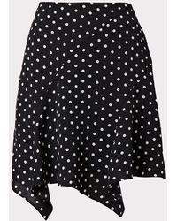 MILLY Laura Small Dot Print Skirt - Black
