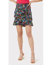 MILLY Garden Floral Stretch Silk Aliza Skirt - Multicolor