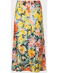 MILLY Fion Garden Floral Viscose Bias Skirt - Multicolor
