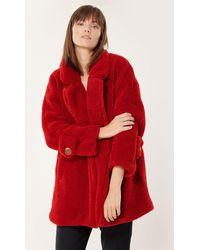 MILLY Vegan Shearling Eldridge Coat - Red
