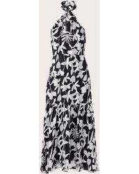 MILLY Shadow Floral Burnout Striped Halter Dress - Black