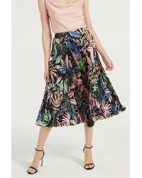 MILLY Tropical Palm Print Pleat Skirt - Black