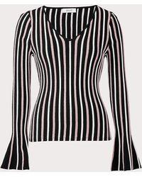 MILLY Vertical Stripe Bell Long Sleeve Vneck Top - Black