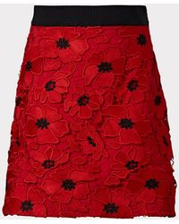 MILLY Minis 3d Poppy Floral Lace Modern Mini Skirt - Red