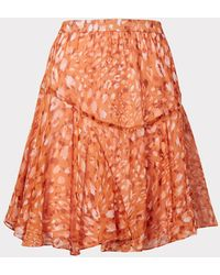 MILLY Nikki Sand Leopard Chiffon Skirt - Orange