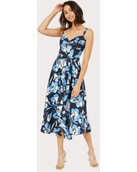 MILLY Hibiscus Print Bustier Midi Dress - Blue