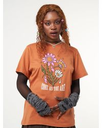 Minga London Come As You Are Flowers T-shirt - Orange