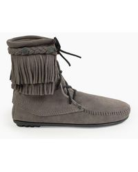 Minnetonka Double Fringe Tramper Boot - Gray