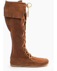 Minnetonka Front Lace Knee High Boot - Brown
