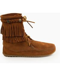 Minnetonka Double Fringe Tramper Boot - Brown