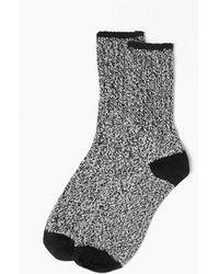 Minnetonka Marl Boot Crew Sock - Black