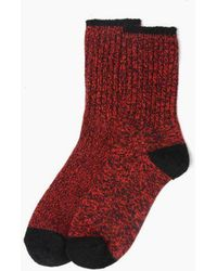 Minnetonka Marl Boot Crew Sock - Red