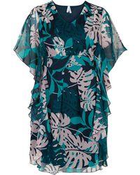 Miss Etam Dames Tunic Allover Print Flowy Showy Dress-turquoisetonen - Blauw