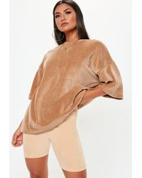 Missguided - Nude Velour Cycling Shorts - Lyst