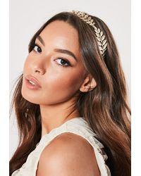 Missguided Gold Look Leaf Headband - Metallic