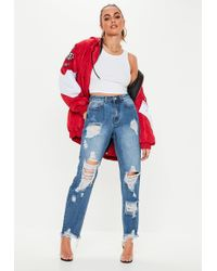 Missguided - Tall Blue High Rise Ripped Denim Mom Jeans - Lyst