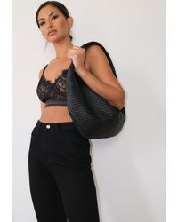 Missguided Black Woven Slouchy Shoulder Bag