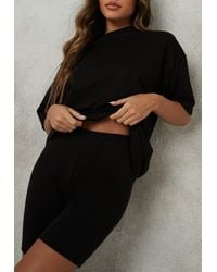 Missguided Oversized T Shirt Cycling Short Co Ord Set - Black
