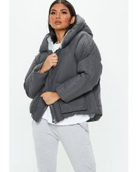 Missguided Grey Hooded Ultimate Puffer Jacket - Gray