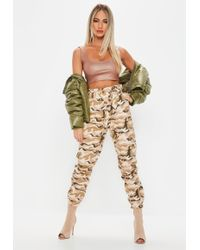 Missguided - Cream Wrap Front Camo Cargo Trousers - Lyst