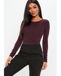 Missguided - Burgundy Crew Neck Long Sleeve Bodysuit - Lyst