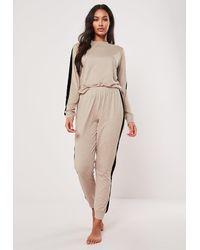 Missguided Ivory Velvet Side Stripe Loungewear Tracksuit Set - White