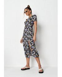 Missguided Floral Half Button Midi Tea Dress - Black