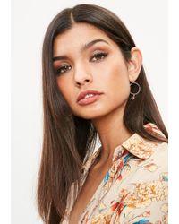 Missguided - Gold Mini Drop Hoop Charm Earrings - Lyst