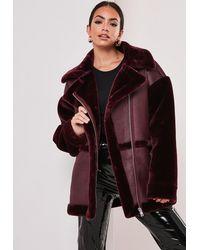 Missguided Tall Wine Faux Fur Aviator Jacket - Multicolour