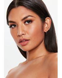 Missguided - Gold Look Diamante Stud Hoop Earrings - Lyst