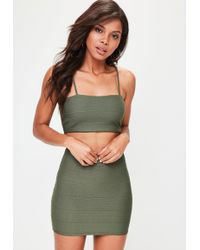 Missguided Petite Khaki Bandage Ribbed Bralet - Green