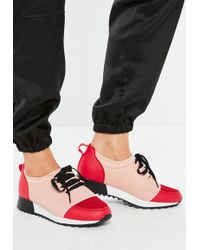 Missguided - Pink Front Strap Lace Up Runner Sneakers - Lyst