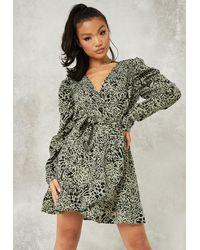 Missguided Leopard Print Ruffle Hem Tea Dress - Green