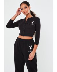 Missguided Playboy X Black Button Front Crop Top