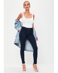 Missguided | Dark Blue Anarchy Mid Rise Skinny Jeans | Lyst