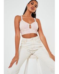 Missguided Lace Plunge Bralet - White