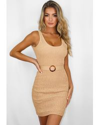 Missguided Crinkle Belted Scoop Neck Beach Cover Up Mini Dress - Natural