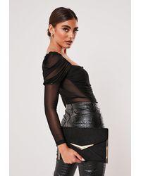 Missguided Metal Trim Suede Clutch Bag - Black