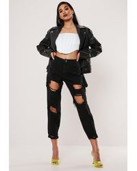 Missguided Petite Black Ripped Mom Jeans