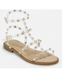 Missguided Gold Look Clear Dome Stud Gladiator Sandals - Metallic