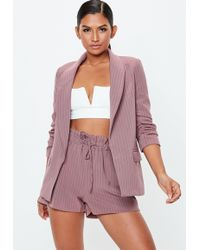 Missguided - Mauve Pinstripe Gathered Waist Shorts - Lyst