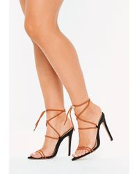 3ae323780519 Lyst - Steve Madden Dream Rope Tie Up Heeled Sandals in Black