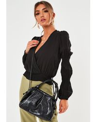 Missguided Oversized Mock Croc Pouch Bag - Black