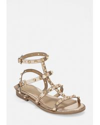 Missguided Rose Gold Dome Stud Gladiator Sandals - Multicolor