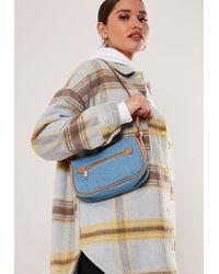 Missguided Blue Denim Zip Detail Shoulder Bag