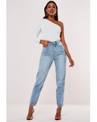 Missguided Blue Highwaisted Clean Mom Jeans