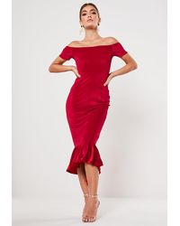Missguided Red Velvet Bardot Fishtail Midi Dress