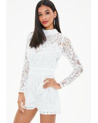 Missguided - White Corded Lace Long Sleeve Romper - Lyst