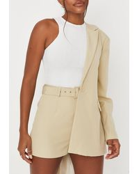 Missguided Tailored Belted Shorts - Natural